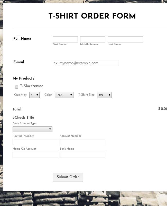 ECheck.Net T Shirt Order Form