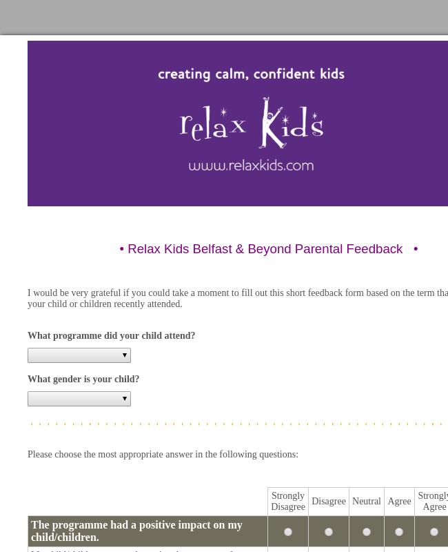 Relax Kids Term Feedback Form