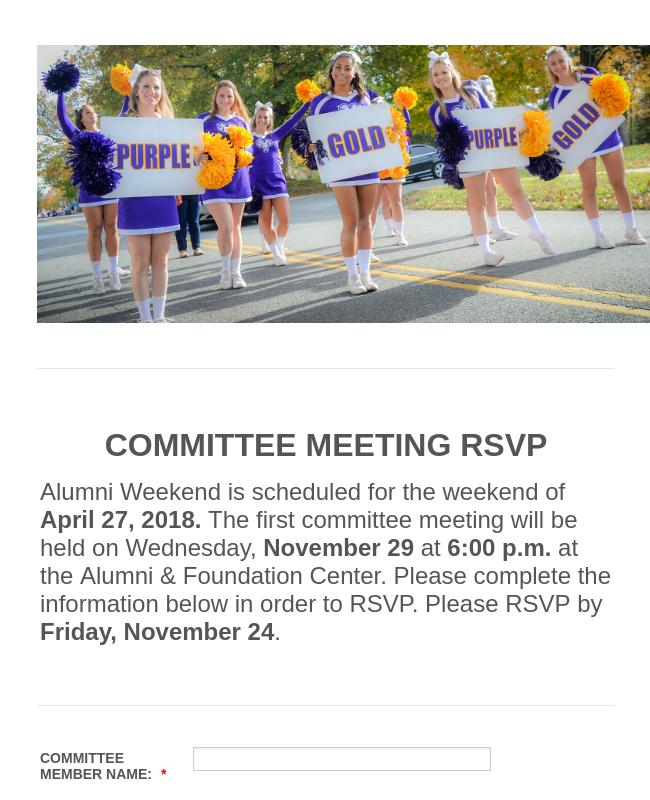 WCU Alumni Weekend Committee Meeting RSVP