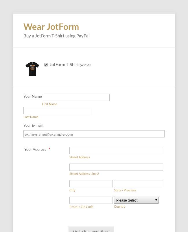 PayPal Express Payment Form on the pop-up