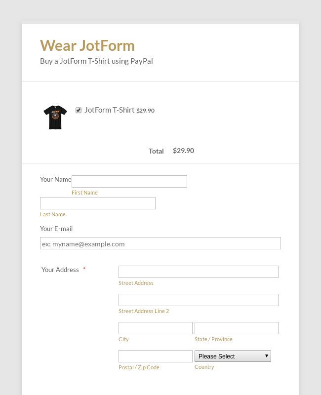 PayPal Payment Form on Click