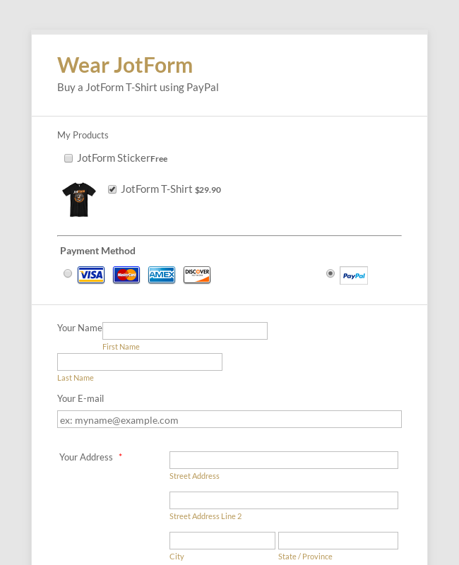 PayPal Pro Payment Form on the Same Page