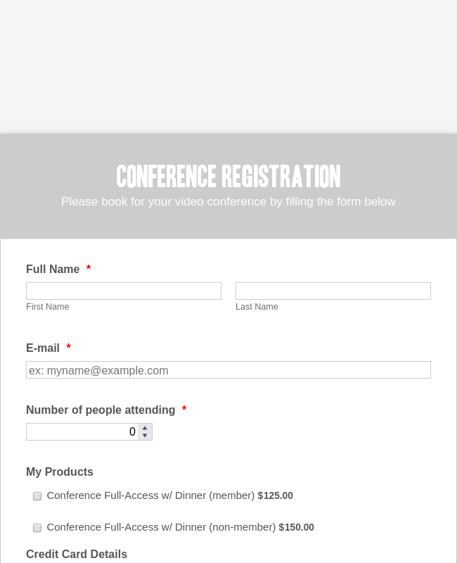 BlueSnap Conference Registration Form