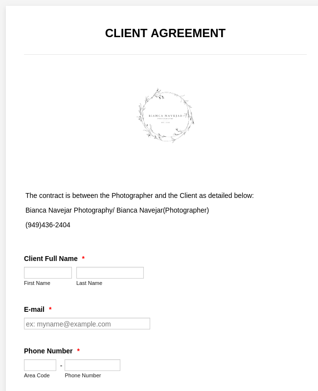 Photography Client Agreement Form