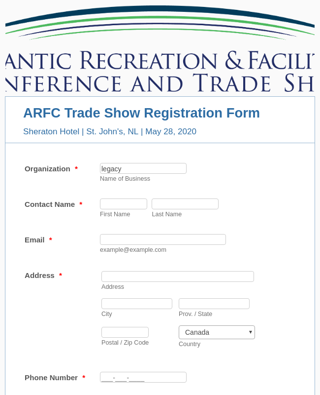 ARFC Trade Show Exhibitor Registration Form