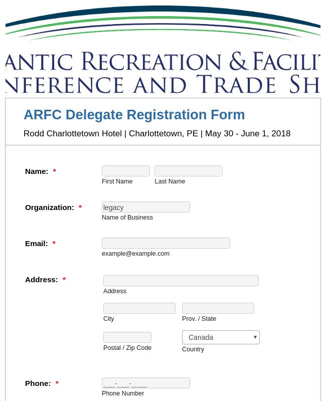 ARFC Delegate Registration Form