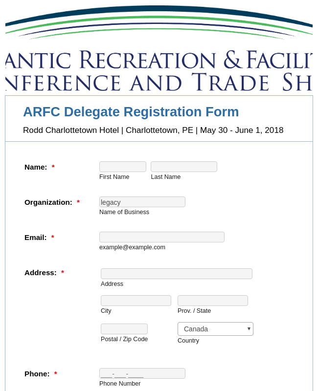 ARFC Delegate Registration Form
