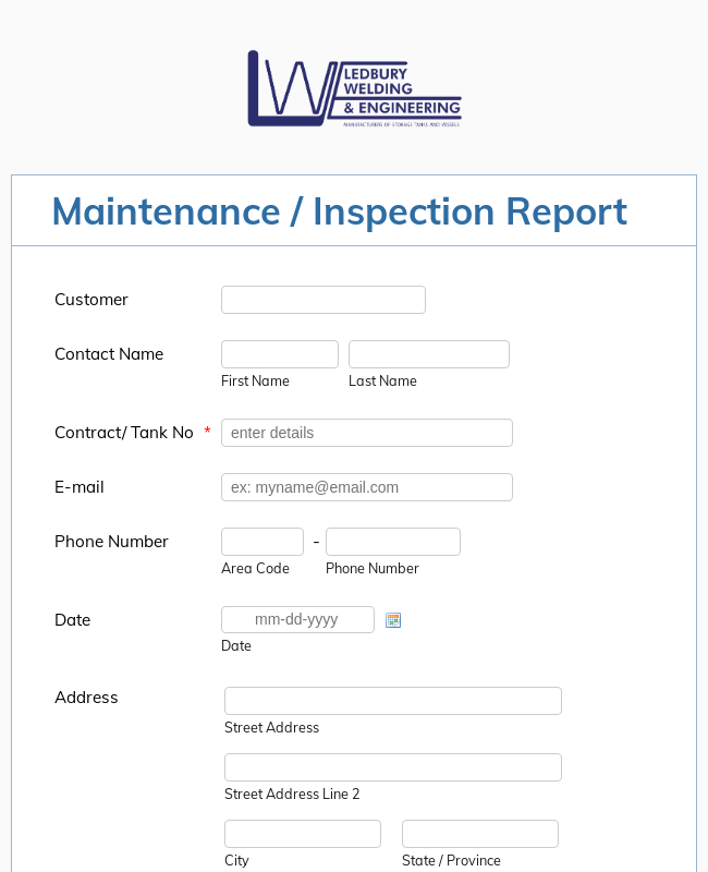 Inspection Report Form