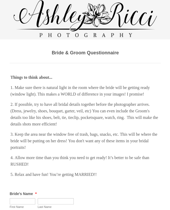 Bride And Groom Questionnaire: Bride And Groom Questionnaire Form Template