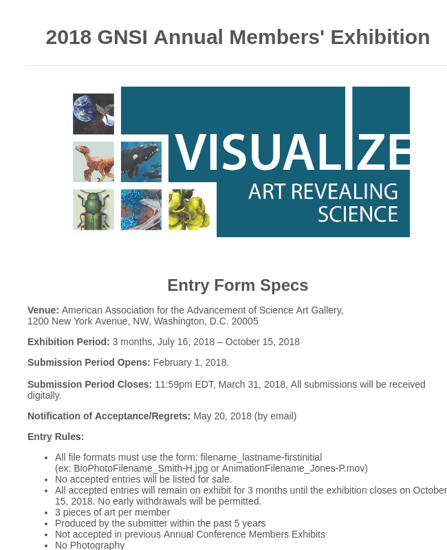 2018 GNSI Annual Members Exhibition Entry Form