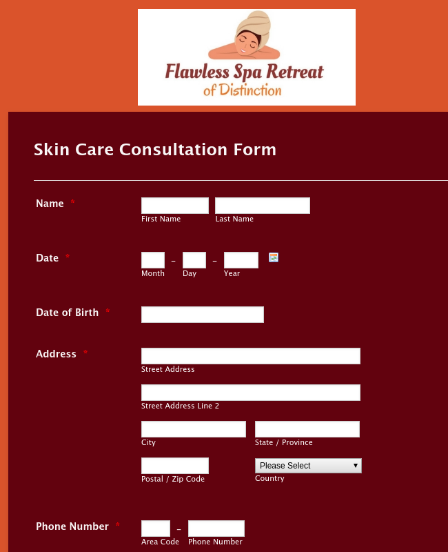 Skincare Appointment Form
