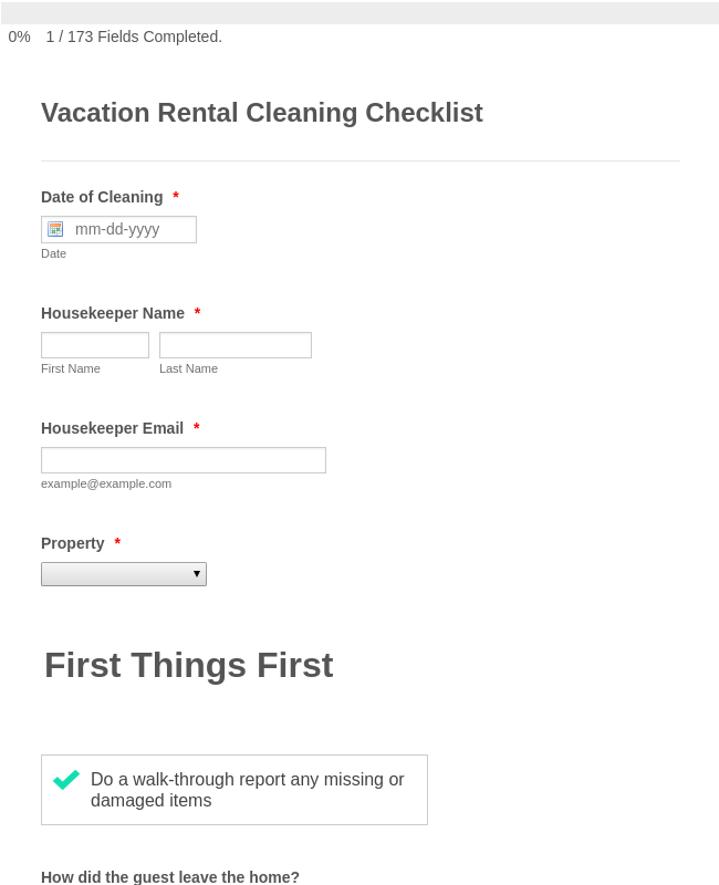 Vacation Rental Cleaning Checklist