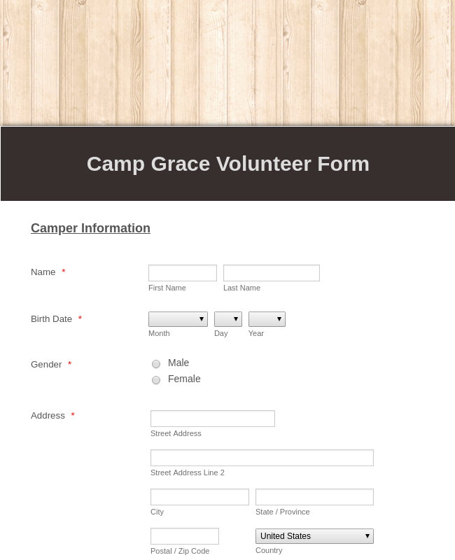 Camp Volunteer Registration