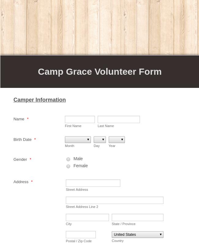 Camp Volunteer Registration