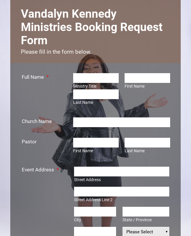 Ministries Booking Request Form