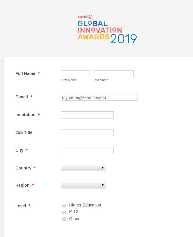 Global Innovation Awards 2019 - Nomination Form