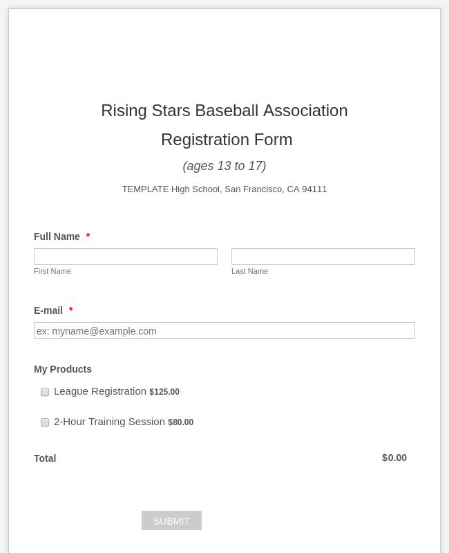 PayU Baseball Registration Form