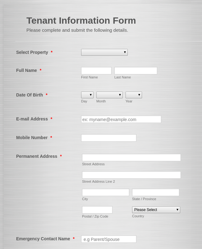Tenant Info Form