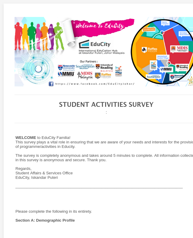 STUDENT ACTIVITIES SURVEY