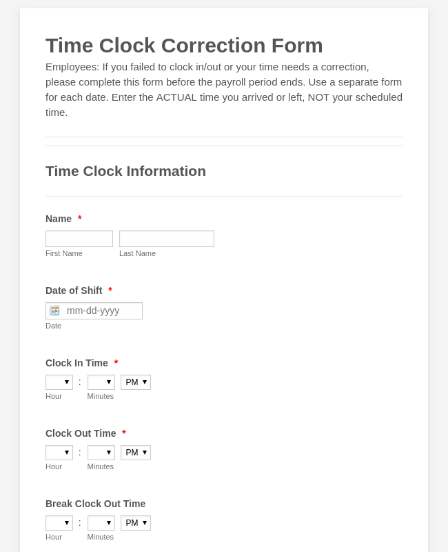 Time Clock Correction Form