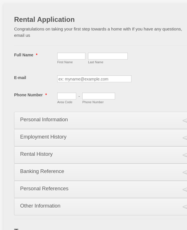 Rental Application w/Background Information