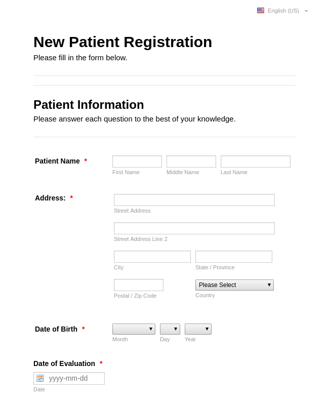 New Pediatric Patient Registration Form