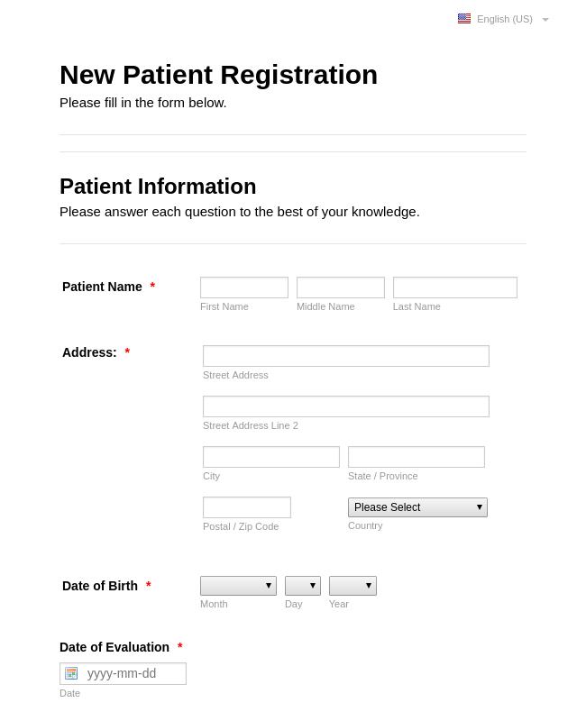 New Pediatric Patient Registration Form