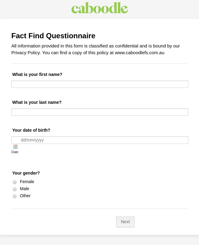Fact Find Questionnaire