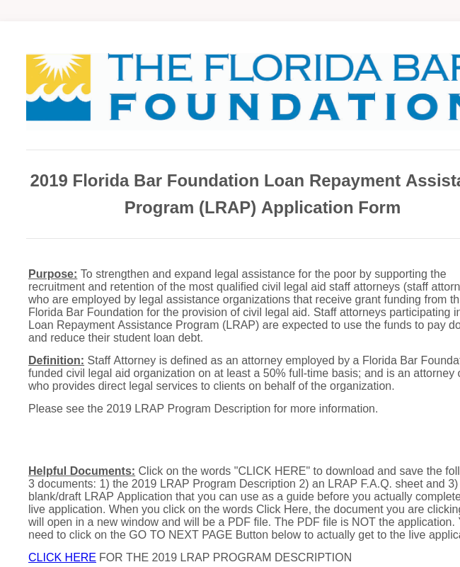 2019 Florida Bar Foundation Loan Repayment Assistance Program Application