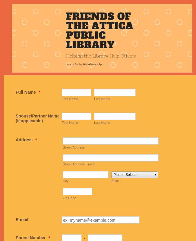 Friend of the Attica Public Library Application