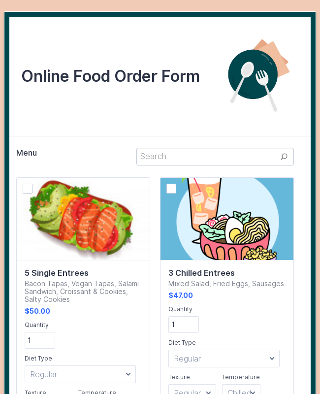Stripe Online Food Order Form