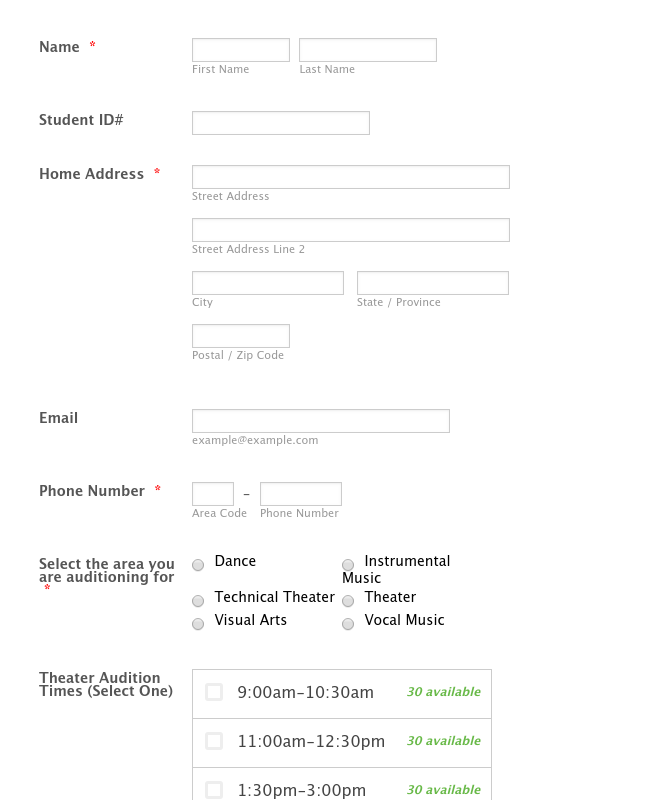 HHS Academy for the Performing and Visual Arts Audition Scheduler