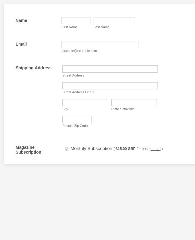 GoCardless Magazine Subscription Form