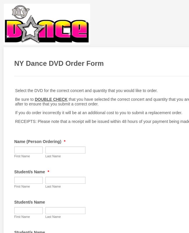 DVD Order Form 2018