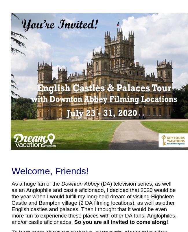 Wolfskill English Castles Tour Custom Webpage