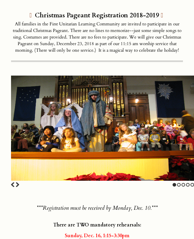 Learning Community Christmas Pageant Registration 2018-2019