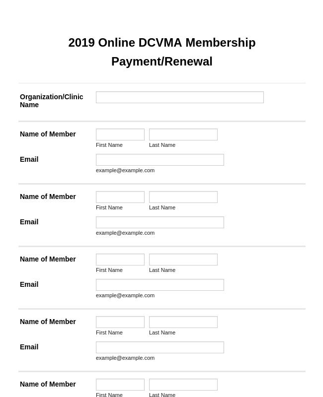 2019 DCVMA Membership Renewal Form