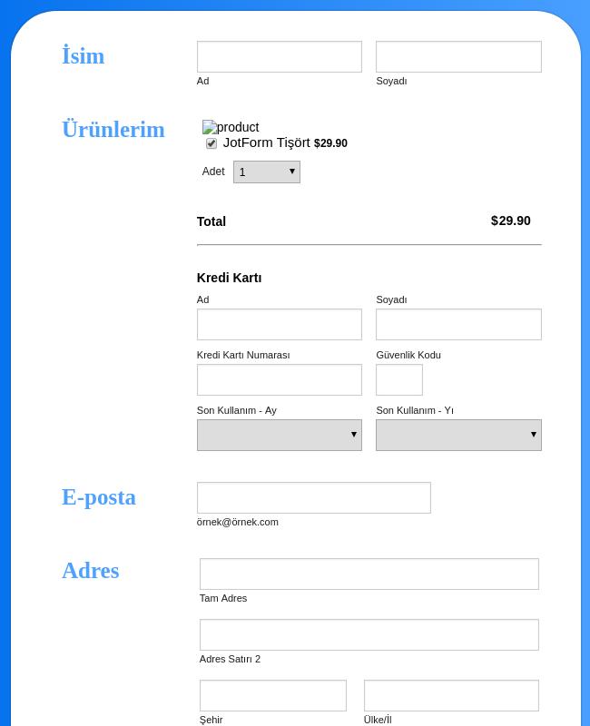 Bluepay Tişört Sipariş Formu