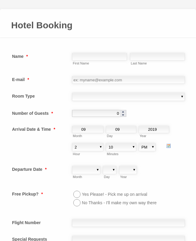 Hotel Booking Form PayPal Checkout