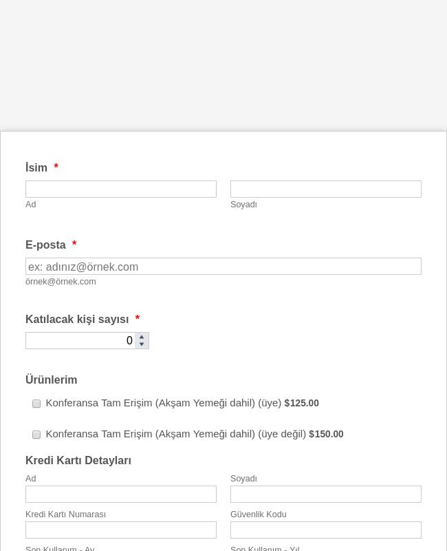 BlueSnap Konferans Kayıt Formu