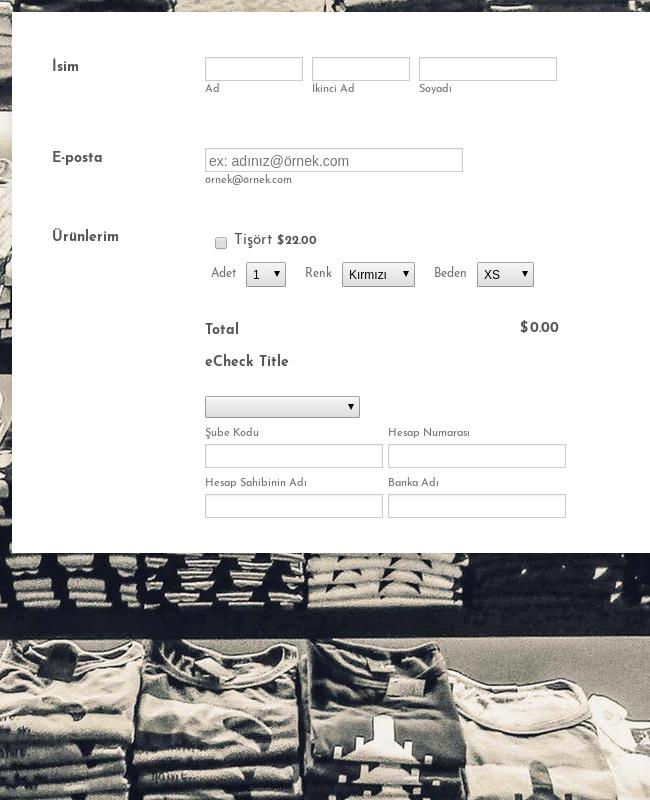 eCheck Net Tişört Sipariş Formu