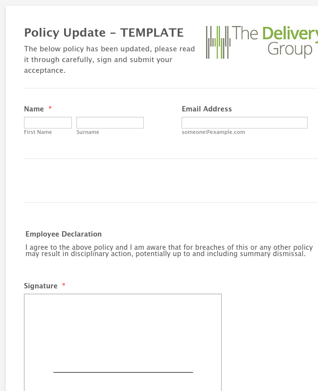 The Delivery Group Policy Template
