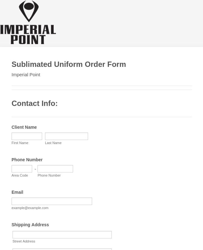 Sublimated Uniform Order Form