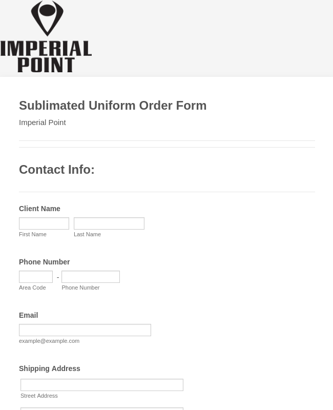 Sublimated Uniform Order Form