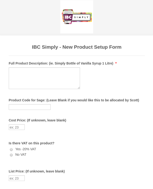 ibc simply new product setup