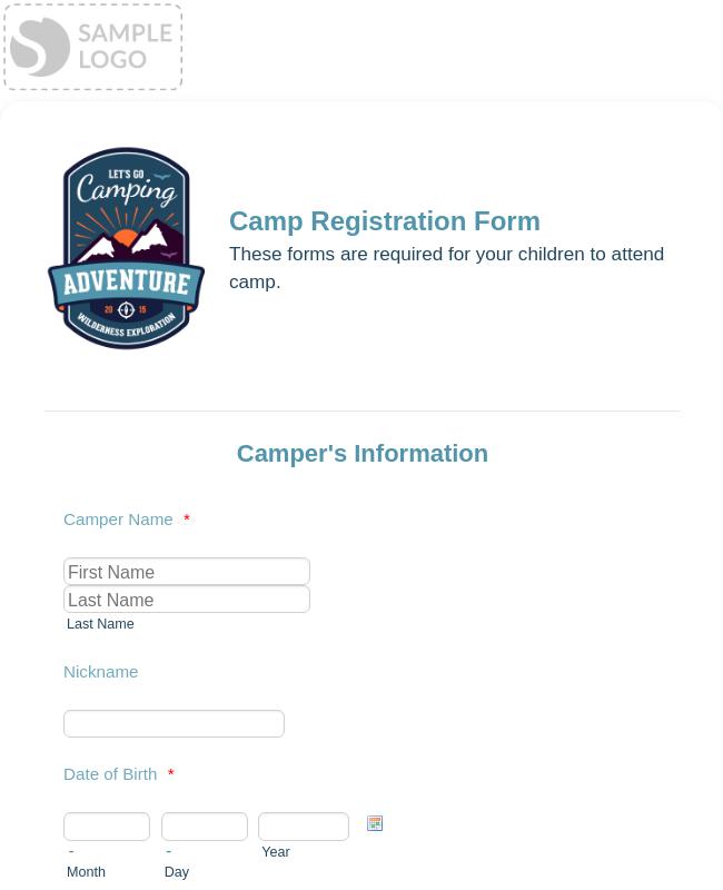 Swim Camp Registration Form