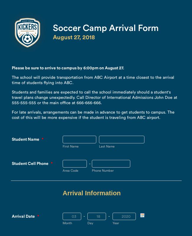 Soccer Camp Arrival