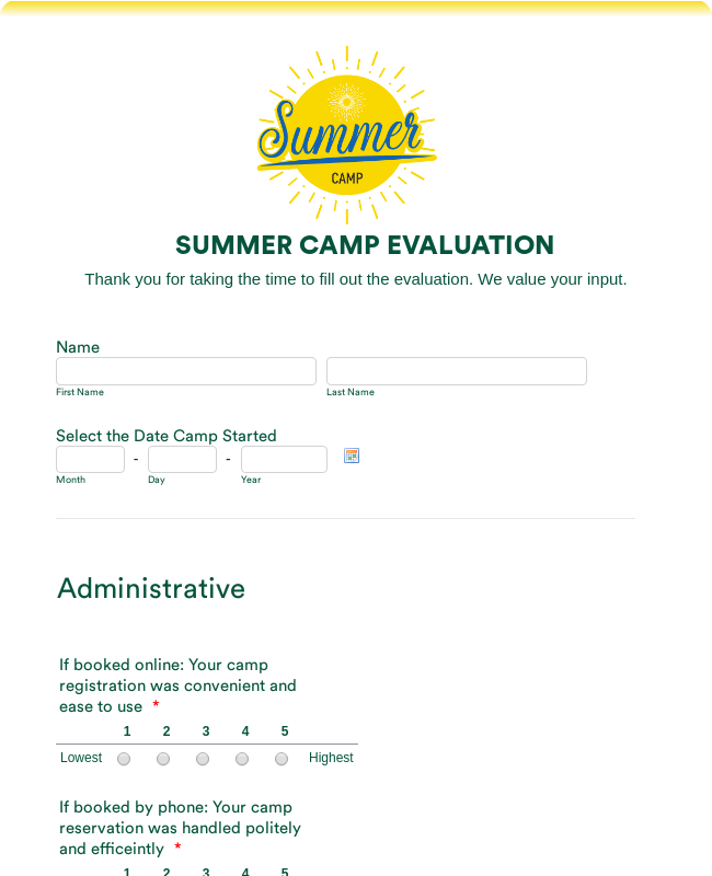 Summer Camp Evaluation