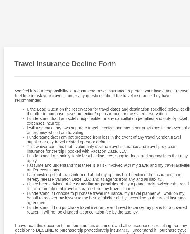 VDZ Travel Insurance Decline Form