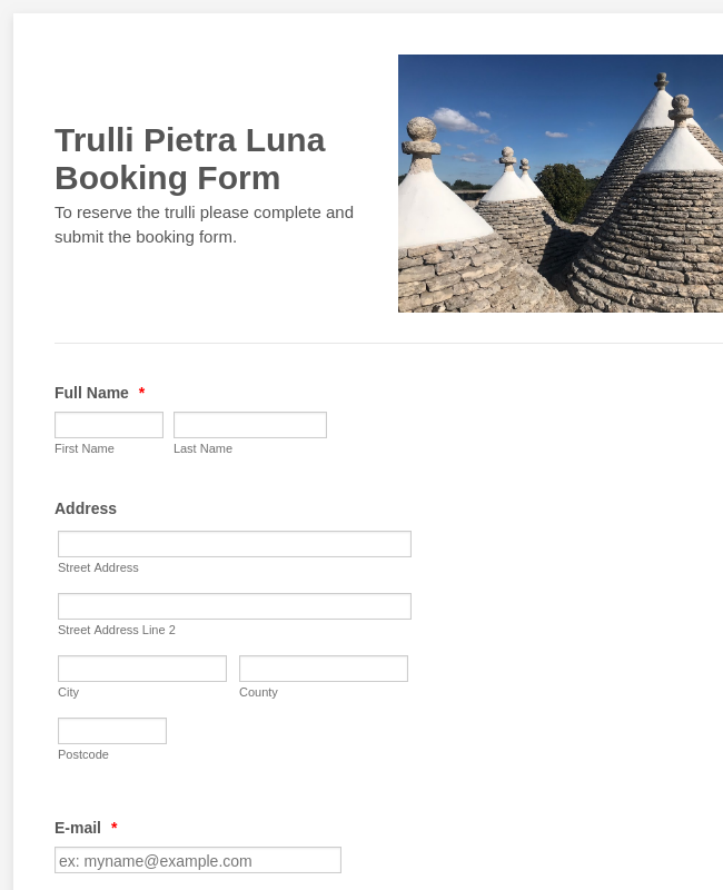 Trulli Pietra Luna Booking Form